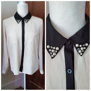 MONTEAU beaded collar long sleeve button down top